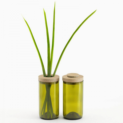 SIDE by SIDE Vase & Jar -  Glass green, 2 part lid oak
