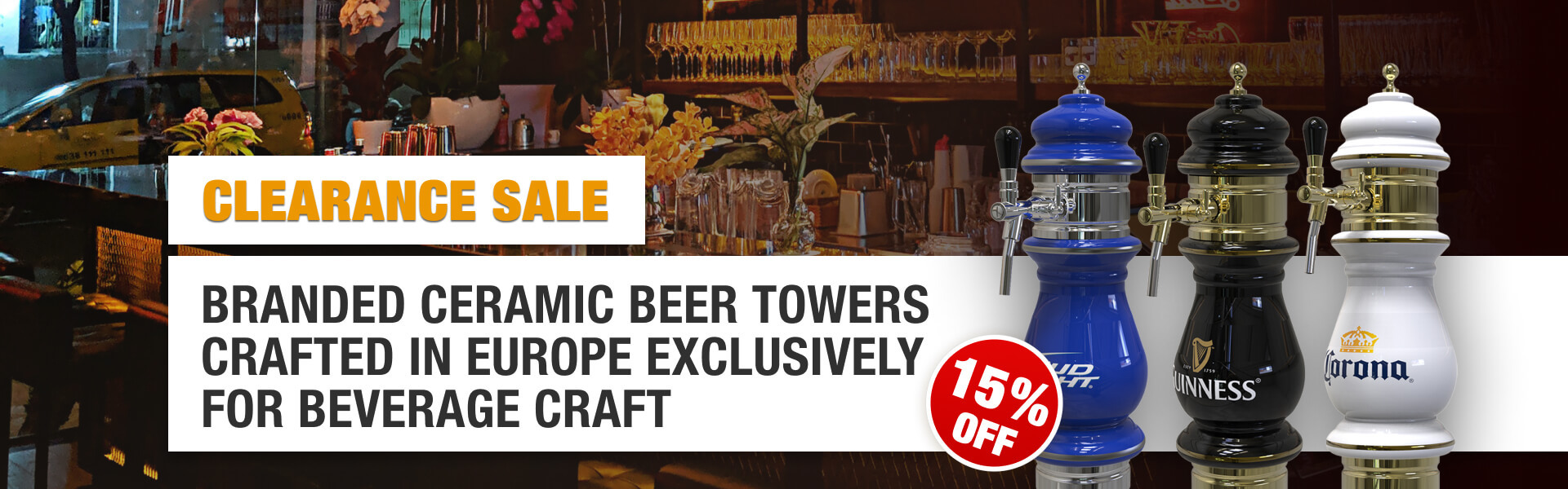 branded ceramic beer towers 15 off