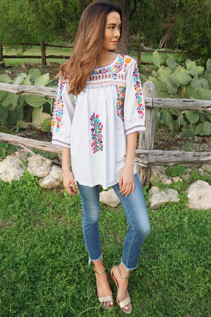 """Azucena"" Mexican  Top 3/4 Sleeve"