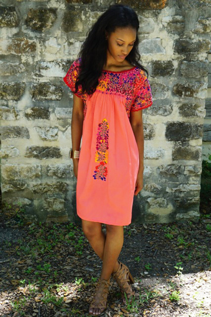 """""""Dulce Sandia"""" Mexican Dress with Sleeves"""