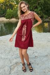 """Vino Tinto"" Mexican Dress"