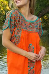 """Papaya"" Mexican Dress with Sleeves"
