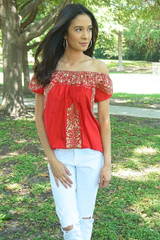"""Mujer de Fuego""  off-the-shoulder  Mexican Top"