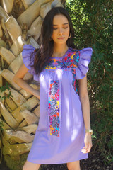 """Lavanda"" Mexican Dress w/ ruffle sleeve"