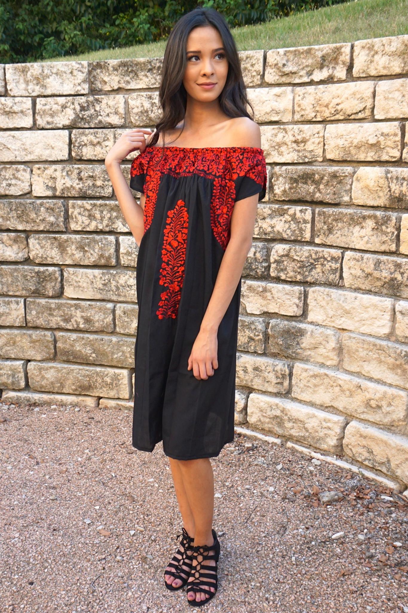 """""""Cita Romantica off-the-shoulder"""" Mexican Dress"""