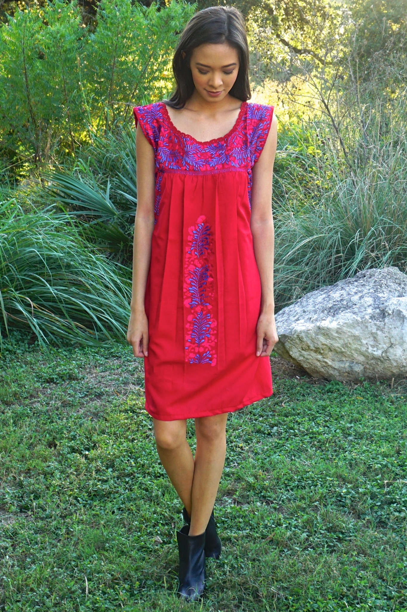 """Ave Rojo"" Mexican Dress"