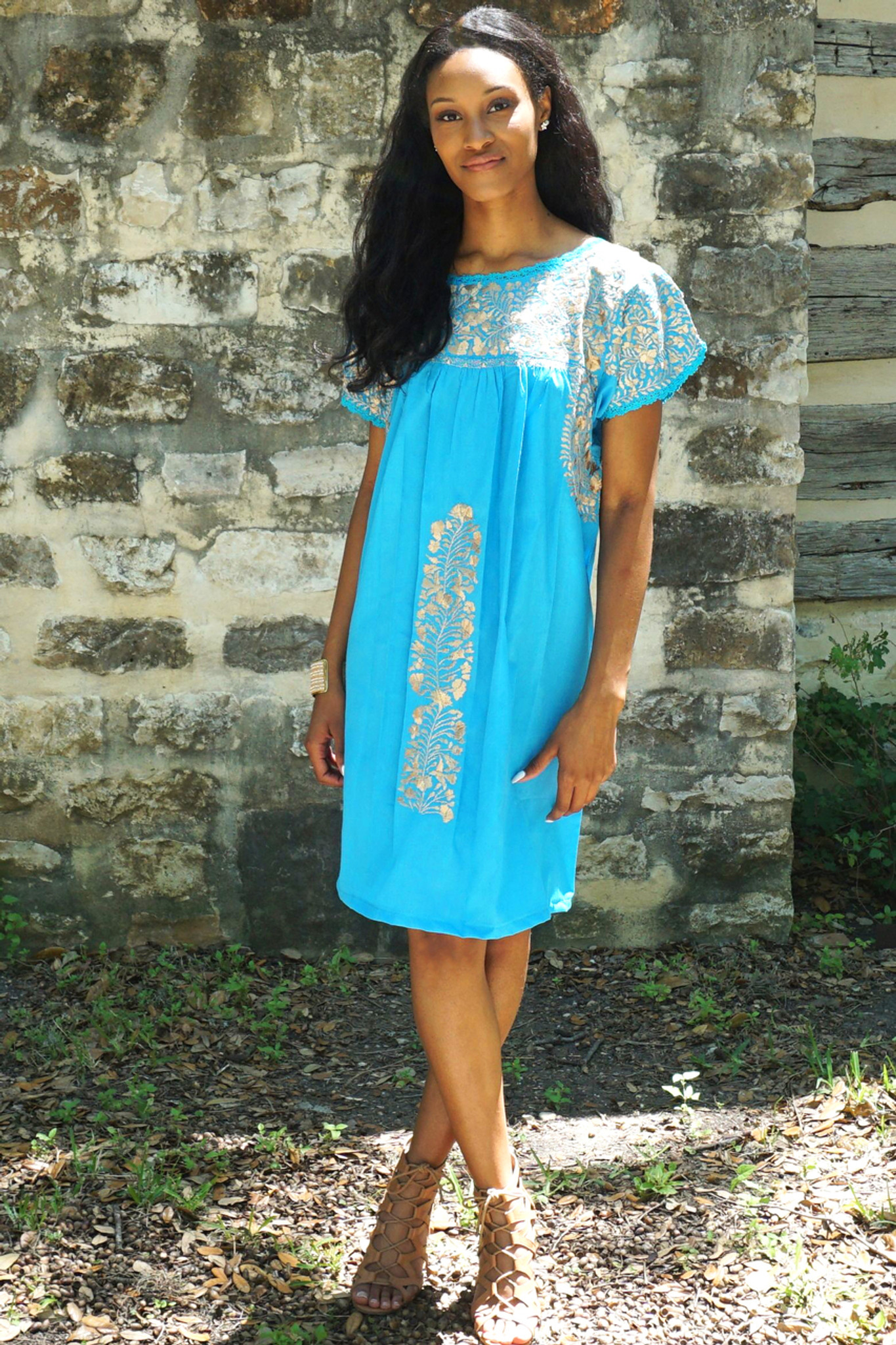 """Nube"" Mexican Dress with sleeves"
