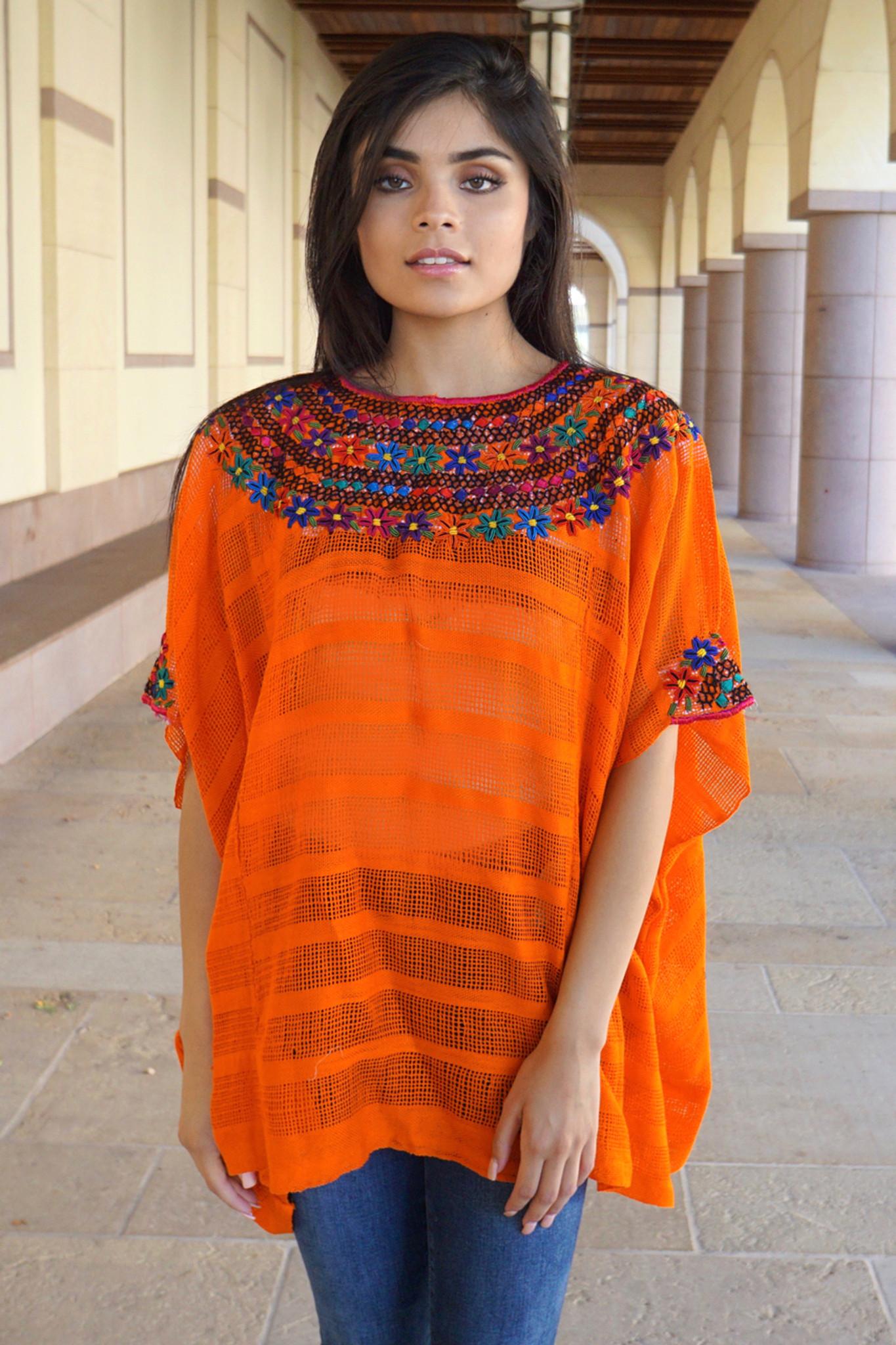 Ixchel Guatemalan Top Orange