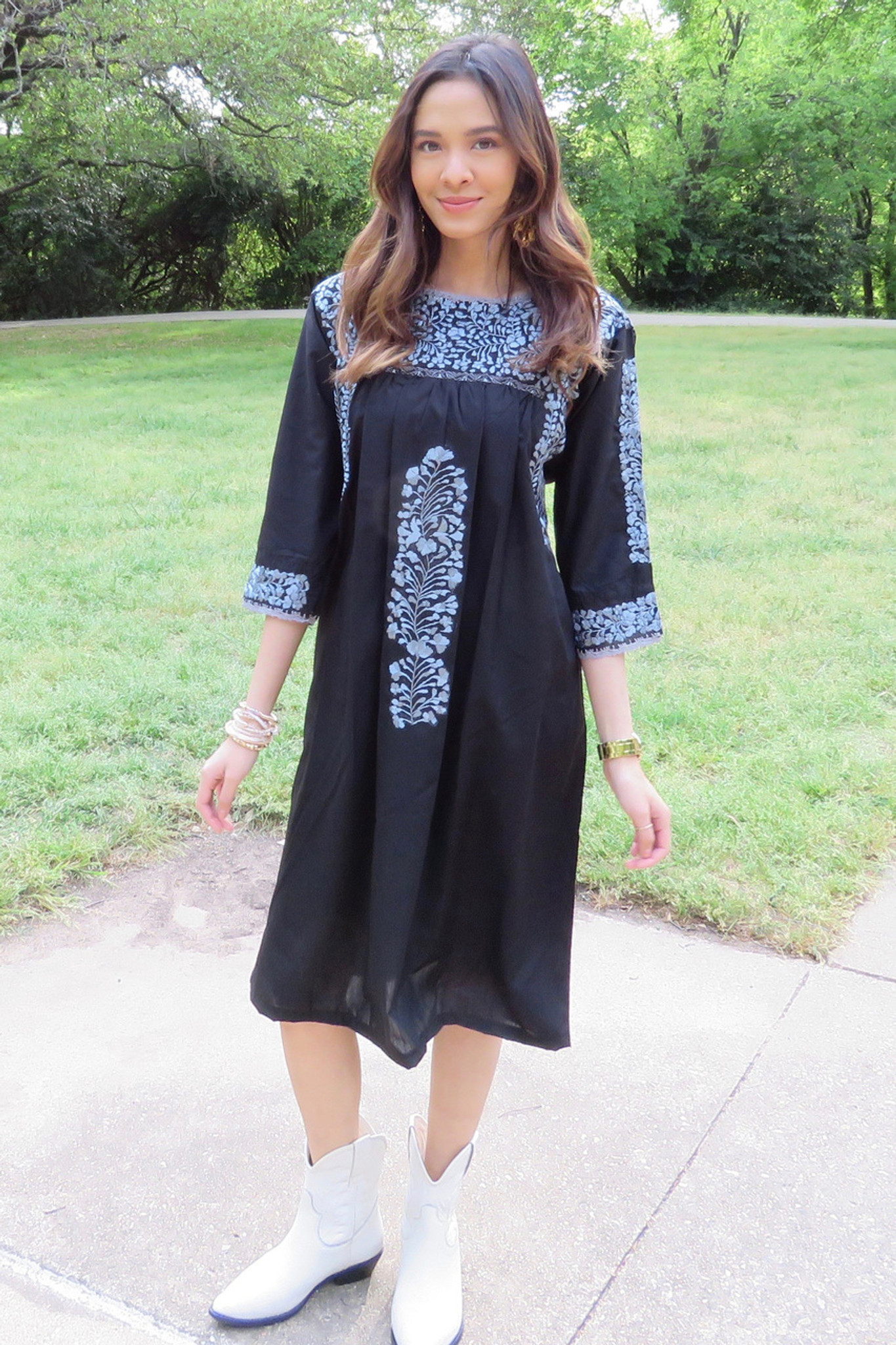 """Eclipse Lunar"" Mexican Dress with 3/4 length Sleeve"