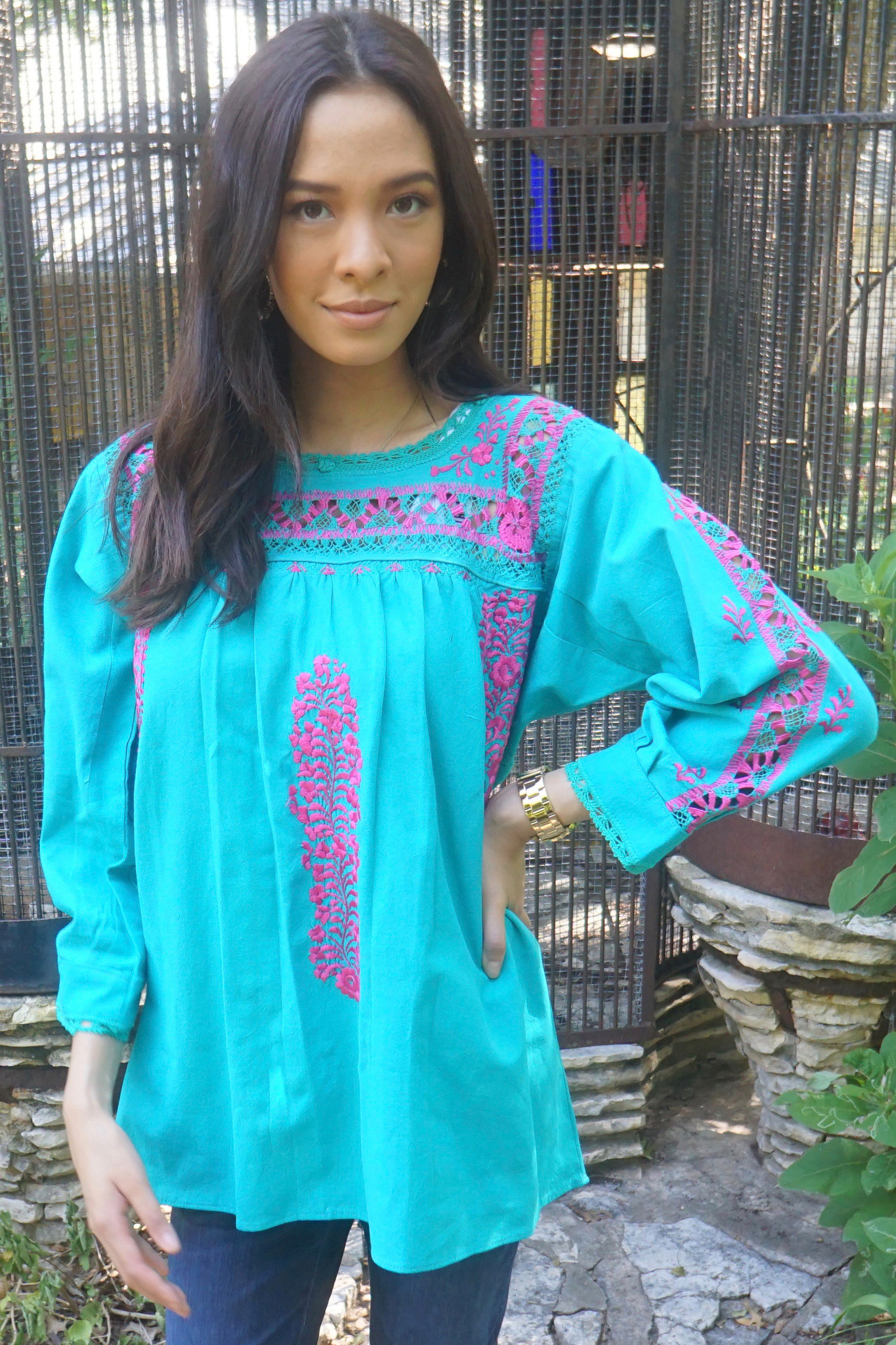 Mar Turquesa  Mexican  Top 3/4 Sleeve
