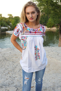 """Azucena"" Mexican  Top with Sleeves"