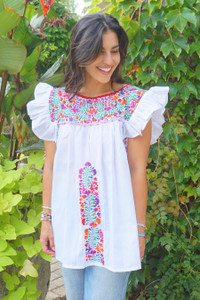 """""""Azucena"""" Mexican  Top with Ruffle Sleeves"""