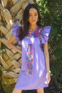 """Lavanda"" Mexican Dress w/ ruffle sleeve"