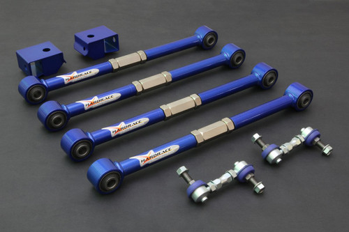 HARDRACE ADJUSTABLE REAR LATERAL LINKS WITH HARDENED RUBBER BUSHES 8PC SET SUBARU IMPREZA GC GG LEGACY BD BH
