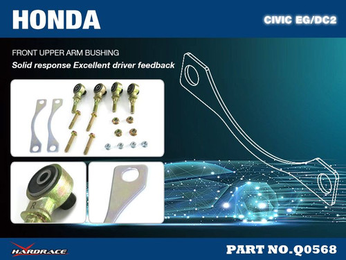 Hardrace Front Upper Arm Bushing-Offset Function Harden Rubber (6 Piece Set) Camber -0.5 degrees, Caster +0.5 degrees Honda Civic EG/DC2