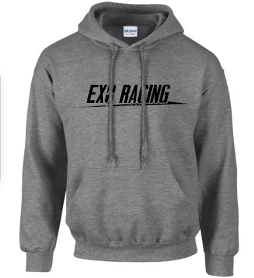 Exoracing Hoodie Grey w/ Black logo unisex Gildan heavyblend S-XL