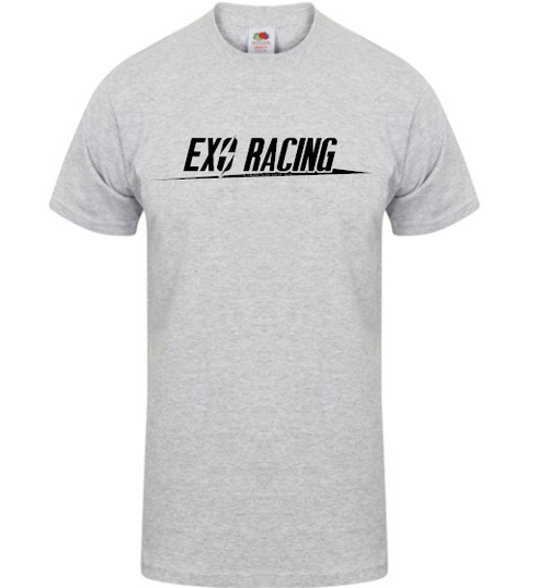 Exoracing tshirt Grey with Black logo unisex Heavy cotton S-XL