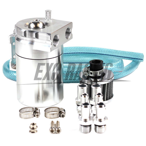 Exoracing Silver Baffled Aluminum Oil Catch Can Reservoir Tank / Oil Tank With Filter Universal