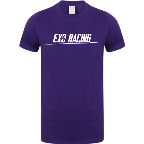 Exoracing tshirt Purple with White logo unisex Heavy cotton S-XL