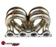 SPEEDFACTORY RACING STAINLESS STEEL TURBO MANIFOLD RAM HORN STYLE D SERIES T4 FLANGE W 44-46MM V-BAND WG