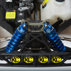 Check out our Metalic Blue shock boots mounted on our 5ive-T shop truck!