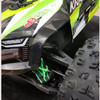 Lightning green shock boots mounted on the stock Kraton 8S with the green body.