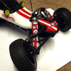 Our new Red Skull shock boots installed on an HPI Baja RTR truck!