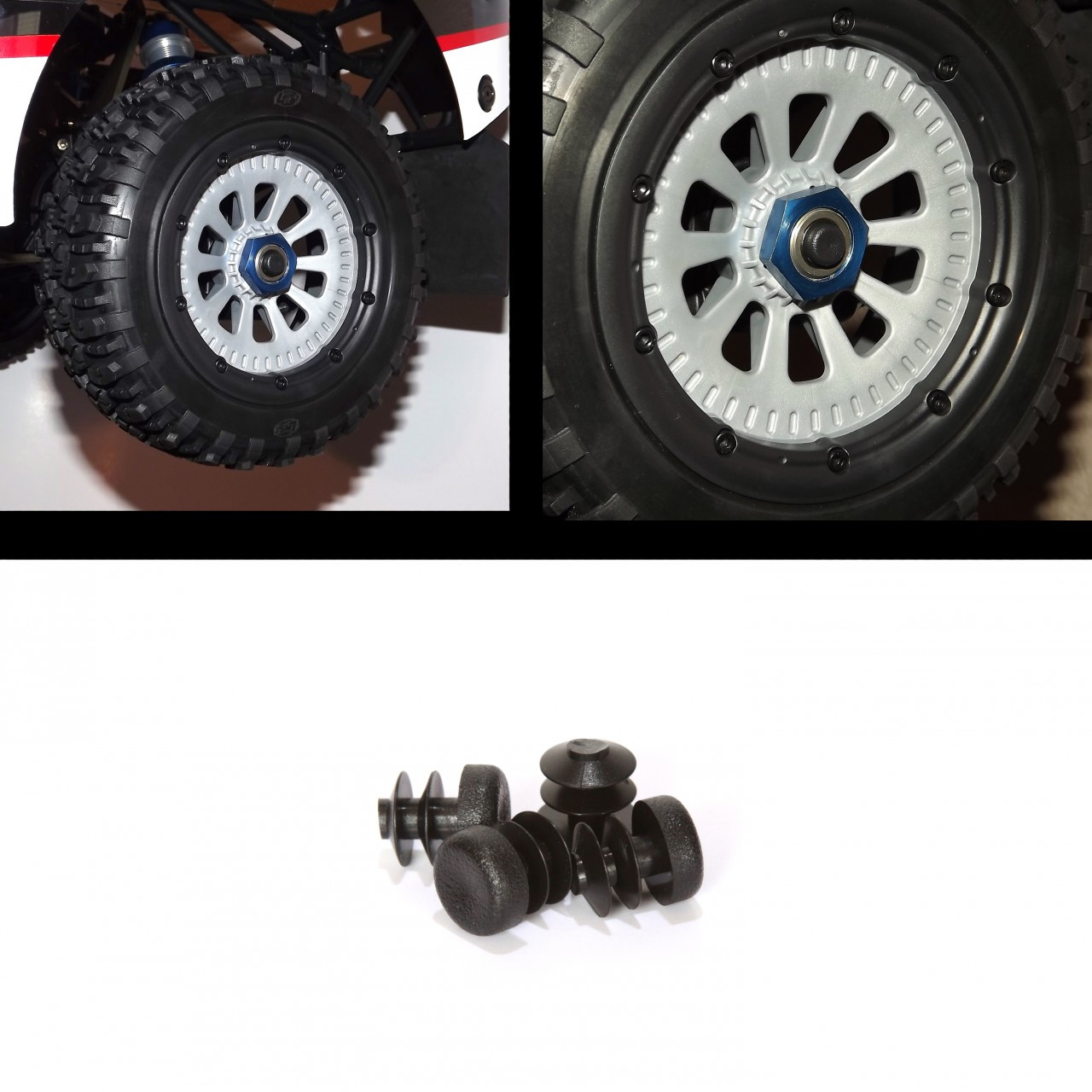 Losi 5ive-T Plastic axle caps simply push into the holes on the stock axles.  They keep out mud and debris.