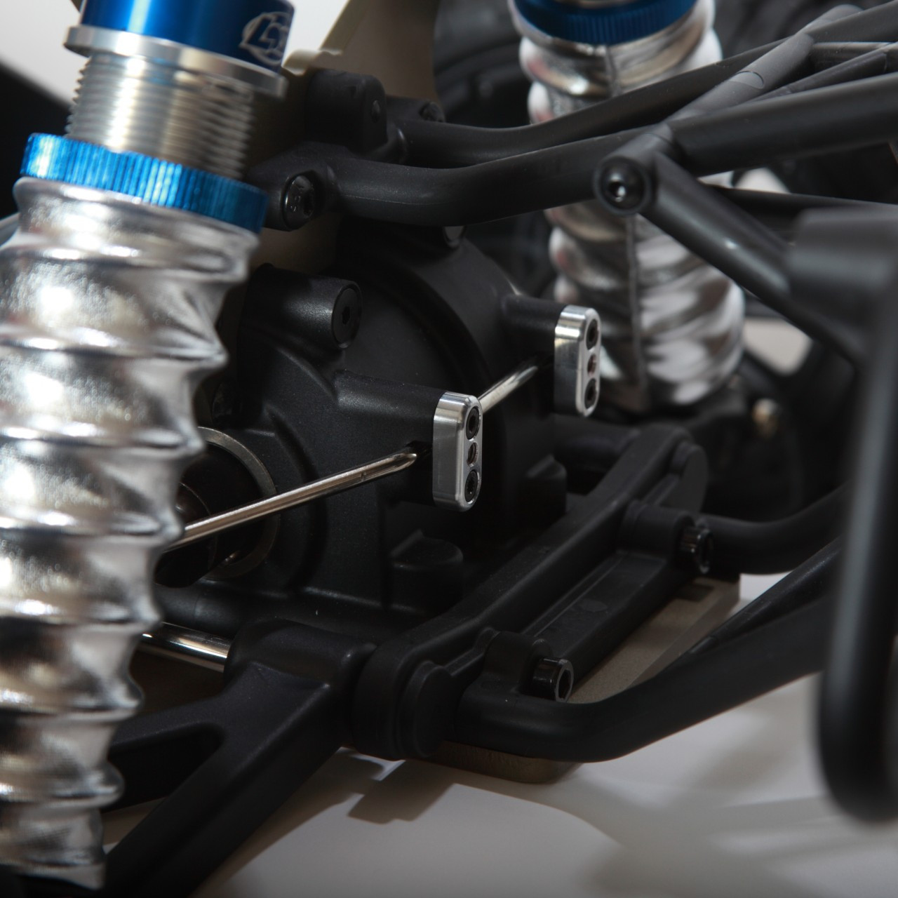 Swaybar clamps shown mounted on our shop 5ive-T truck.
