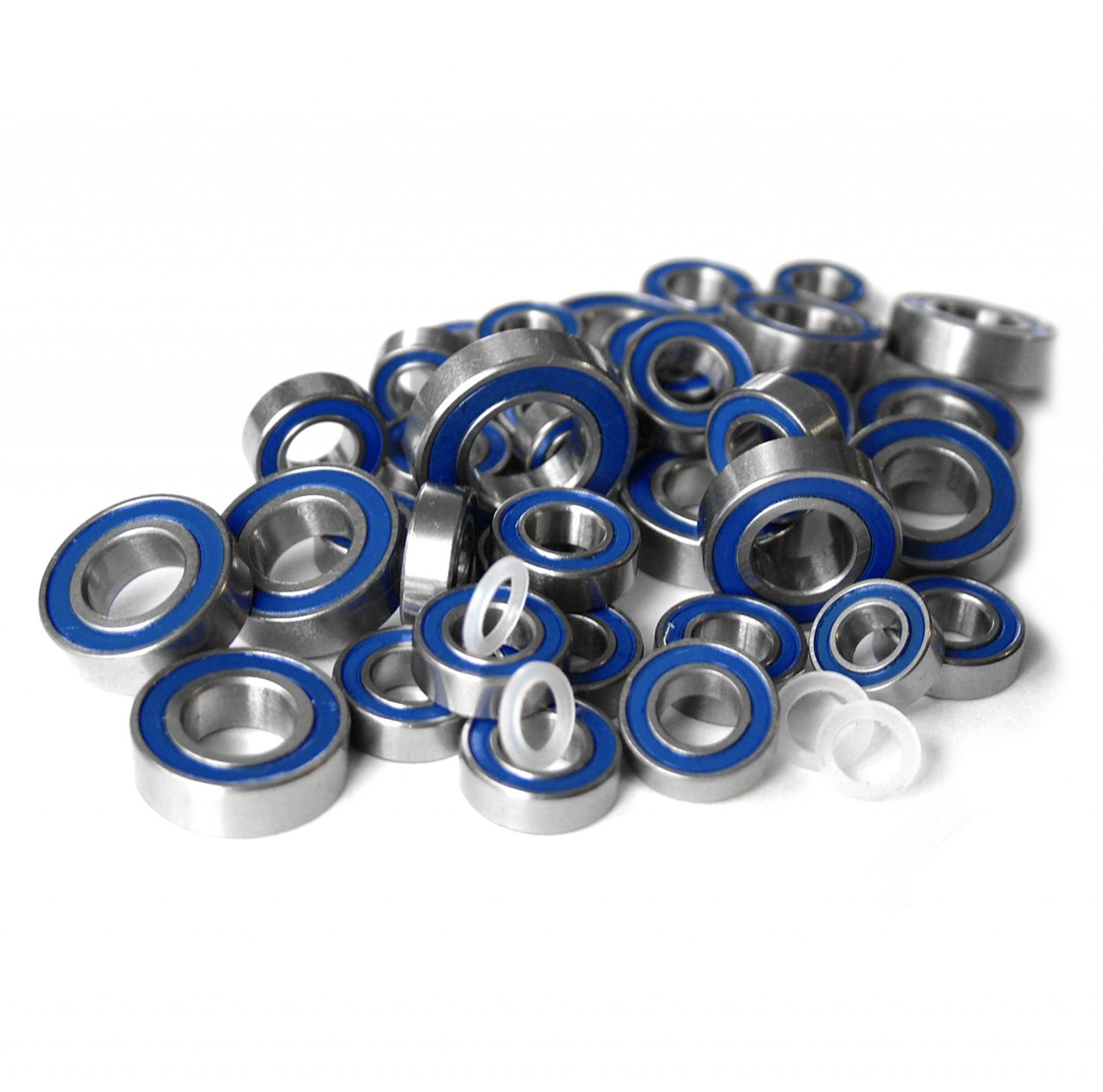 Team Associated Monter GT (MGT) & Rival full blue rubber sealed bearing kit.  Compete kit has all bearings as well as the nylon spacers for the wheel bearings.