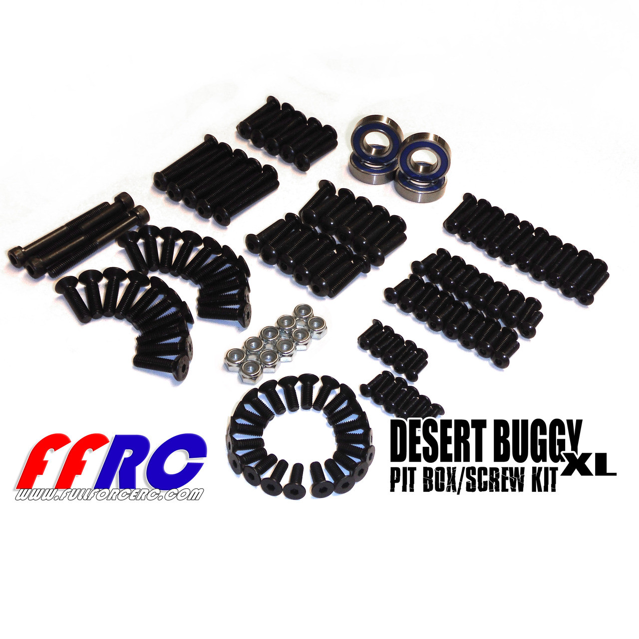 Team Losi Desert Buggy XL 168 piece pit box comes with hardware and wheel bearings!  Top grade hardware here.