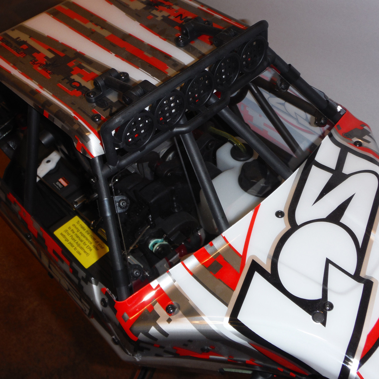 Team Losi Desert Buggy XL front windshield (window) mounted the stock truck.