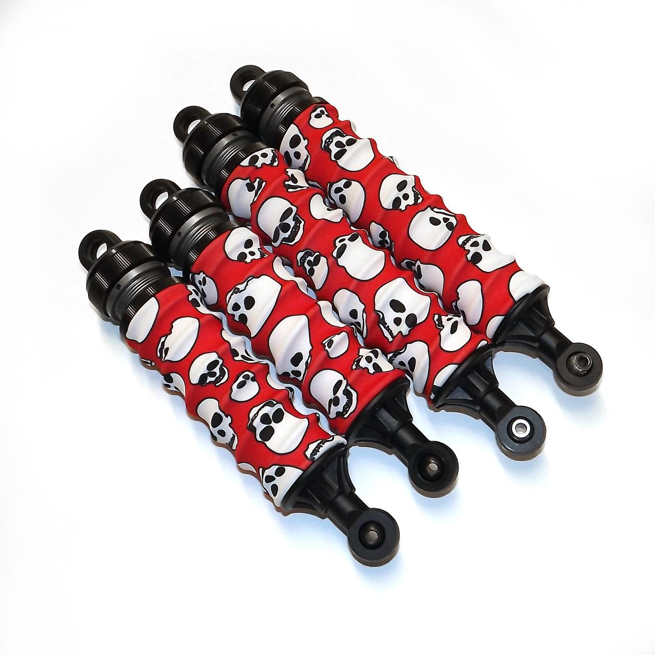 Kraken Vekta Red Skull Shock boots mounted on a set of stock shocks.