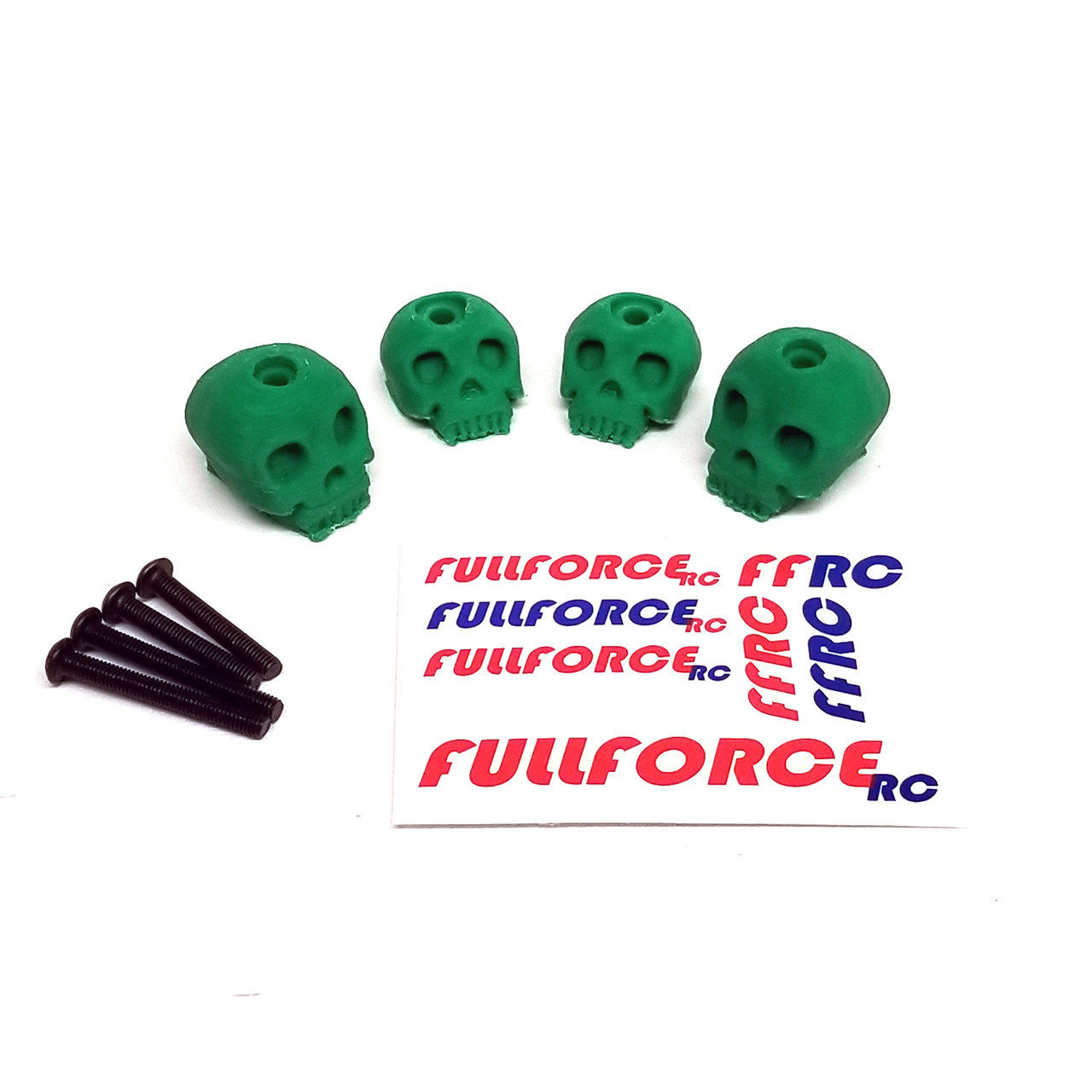 Traxxas X-MAXX Custom 3D printed skull body washers by Fullforce RC.  Complete with hardware.  4 PACK Green version.