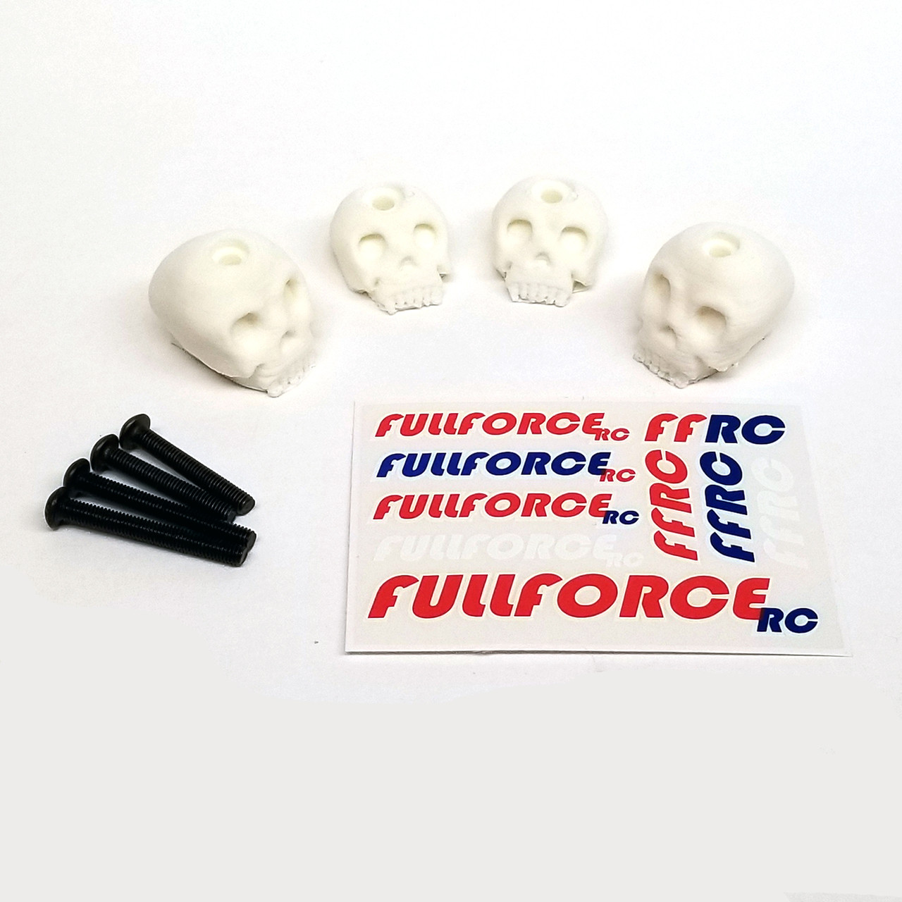 Traxxas X-MAXX Custom 3D printed skull body washers by Fullforce RC.  Complete with hardware.  4 PACK  White version.