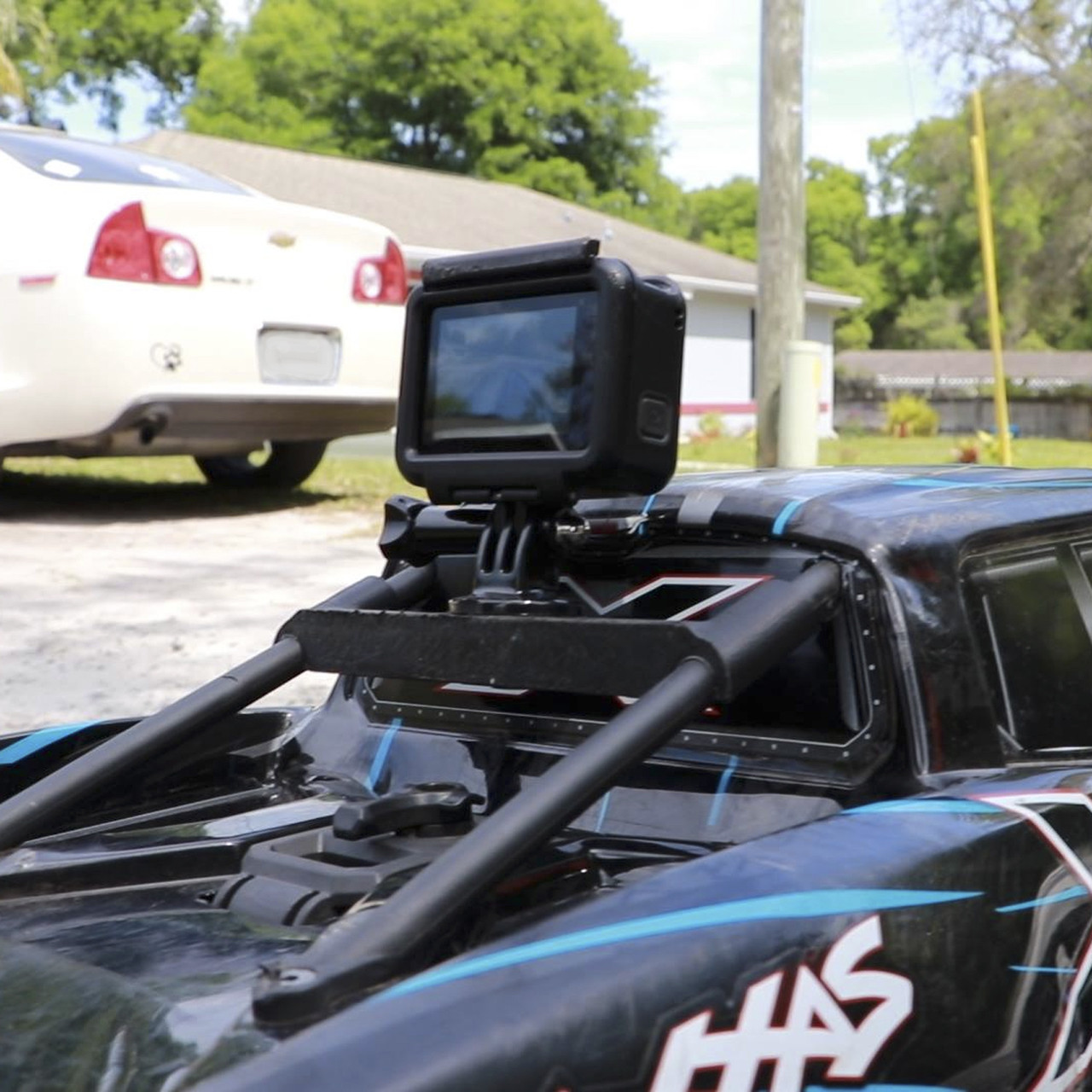 GoPro Hero 7 mounted on the X-MAXX and ready to roll.