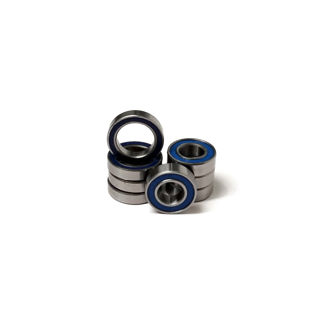 Traxxas MAXX 4S 10th Scale Blue Rubber sealed wheel bearings.  8 pcs. Includes 4-8x16x5 mm and 4-12x18x4 mm Bearings.