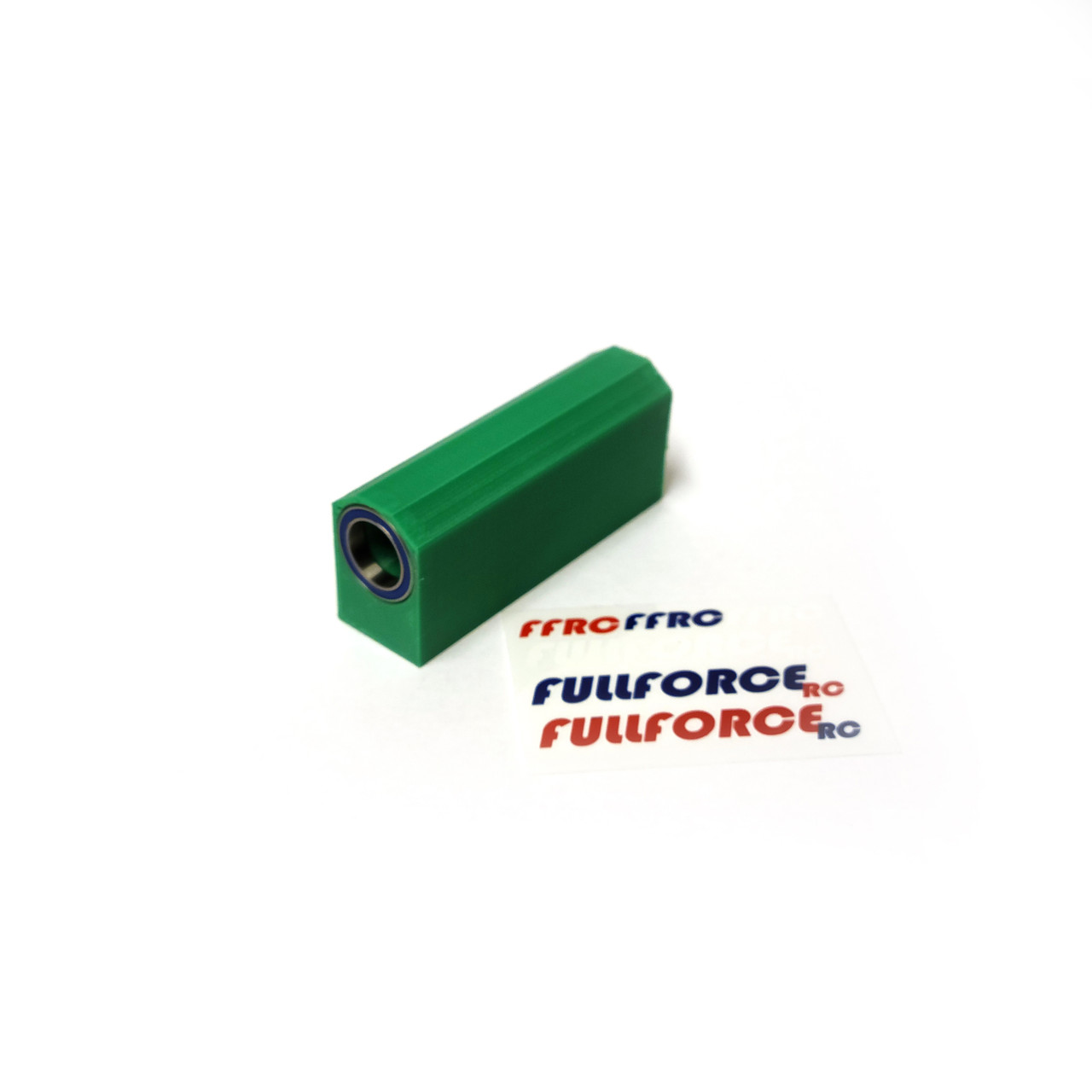 Traxxas X-MAXX Center driveshaft Basher Block with bearings in GREEN ABS.