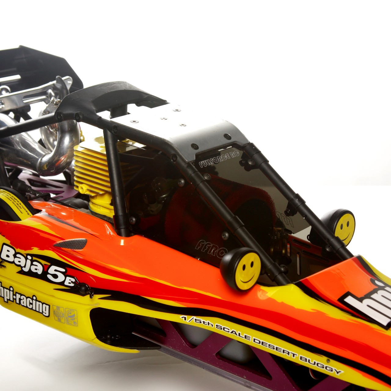 HPI Baja 3 piece windows shown installed on a stock RTR truck!.  Shown are the Transparent Smoked.
