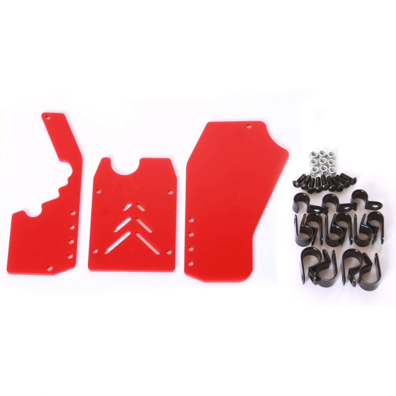 HPI Baja 3 piece rear window kit with hardware - Solid Red.