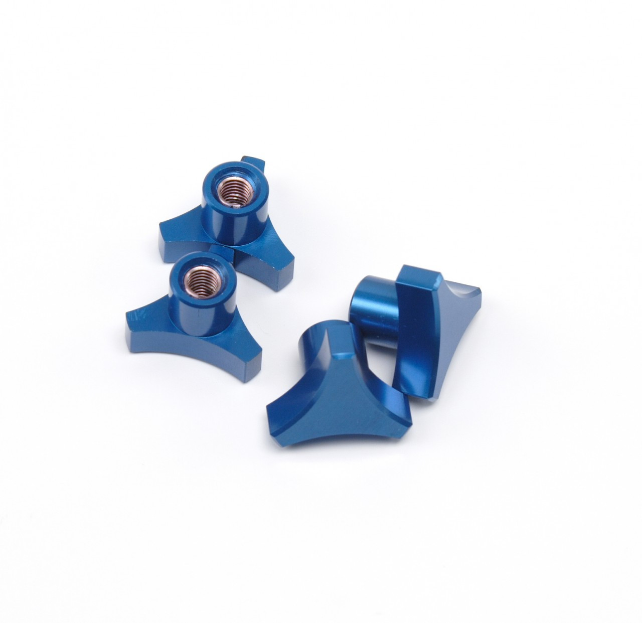 Traxxas T-MAXX E-MAXX 3 Spoke Blue Anodized locking hub nuts.  Get rid of those stock 5mm lock nuts and pop some of these in there!