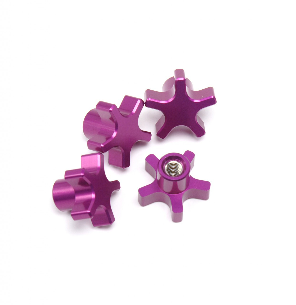 Traxxas T-MAXX E-MAXX 5 Spoke Purple Anodized locking hub nuts.  Get rid of those stock 5mm lock nuts and pop some of these in there!