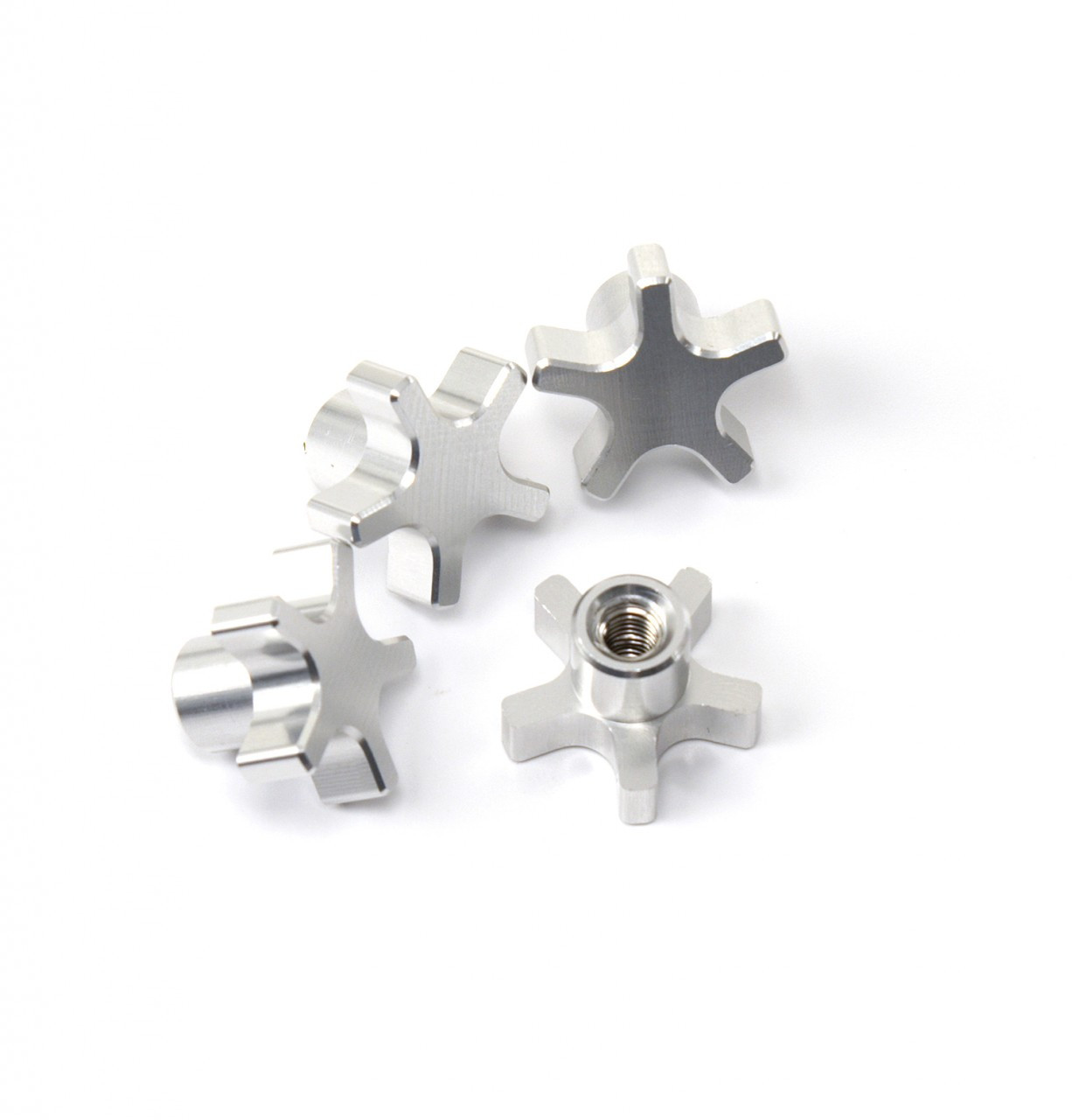 Traxxas T-MAXX E-MAXX 5 Spoke Silver Anodized locking hub nuts.  Get rid of those stock 5mm lock nuts and pop some of these in there!
