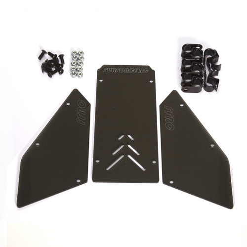 HPI Baja Flux and E-conversion 3 piece front windshield set.  Designed for use with the electric Baja 5B trucks these windows are laser cut for the perfect fit and include hardware!