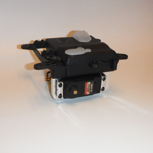 Shown mounted on a stock HPI Baja 5B radio box.  Please note that the servo clamps pictured are not included.