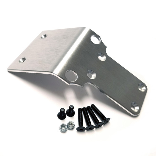 "Aluminum skid plate for your Kraken Vekta.  This is the long version which bolts to all four lower mounting points as well as the two new holes you have to drill in the plastic skid plate.  T6 6061 Aluminum a full 1/8"" thick!"