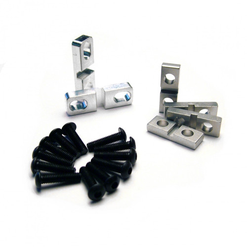 HPI Baja 5B 5T and 5SC full aluminum servo clamp set.  Includes the large pair for the steering servo as well as two pairs of 10th scale clamps for throttle and break setups.