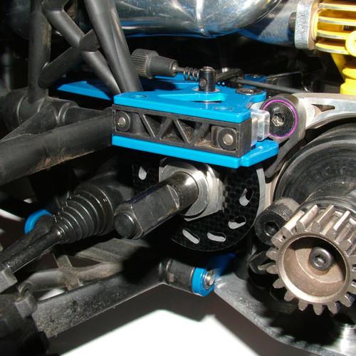 Upgraded brakes shown installed on a stock RTR Baja 5B.