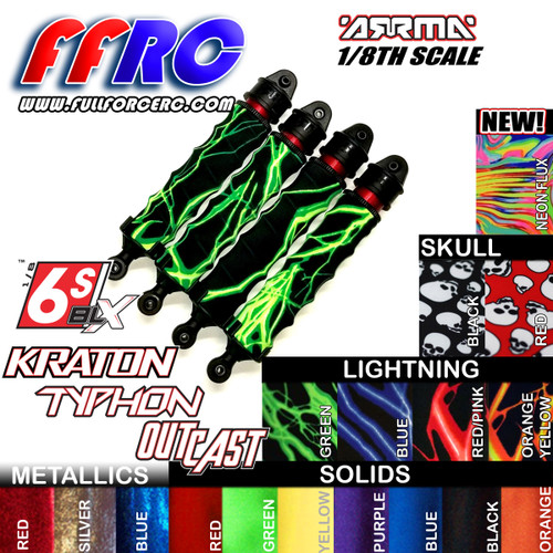Fullforce RC Shock boots for the Arrma Kraton 6S 8th scale trucks are here.  Available in our full line of colors they come in package of four and help protect your shock seals and prolong the life of your expensive shocks.