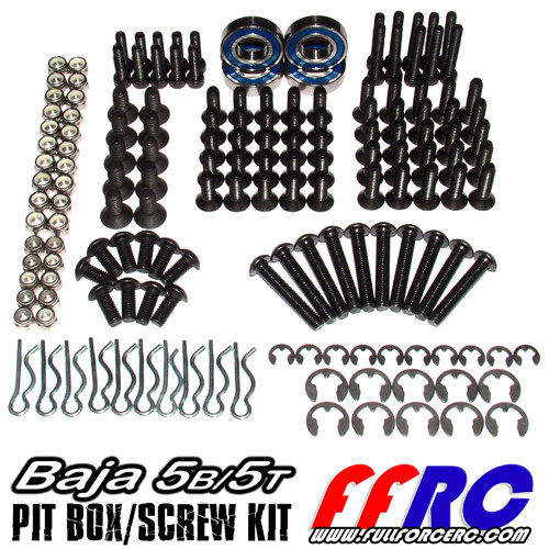 HPI Baja 5B 5T and 5SC pit box/screw kit has a ton of hardware, bearings, e-clips and body clips.  Comes packaged up neatly in individual bags.  Dump it into your screw kit or put the whole thing into your toolbox!